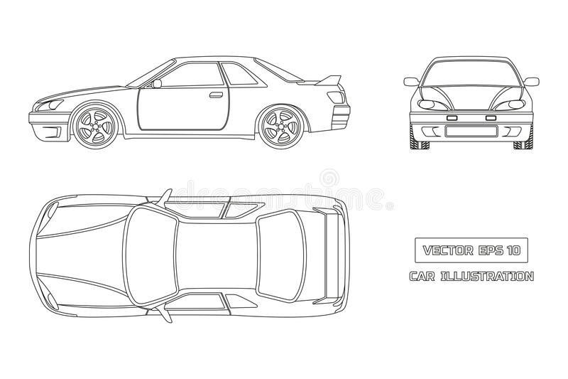 Contour drawing of the car on a white background. Top, front and side view. The vehicle in outline style vector illustration
