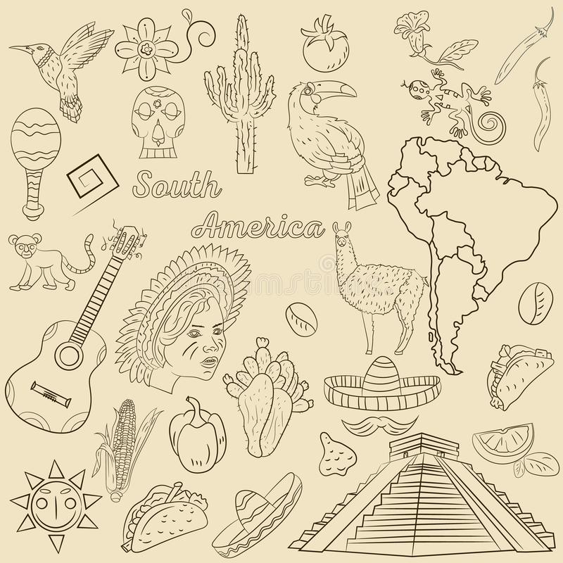 Contour drawing coloring on South America, animals, people, buildings, plants, holidays, continent map. Vector contour drawing coloring on South America, animals royalty free illustration