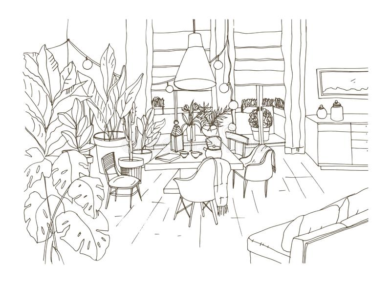 Contour drawing of cozy dining or living room furnished in trendy Scandic hygge style with table, chairs, couch. Lounge. Area full of stylish furniture and home royalty free illustration