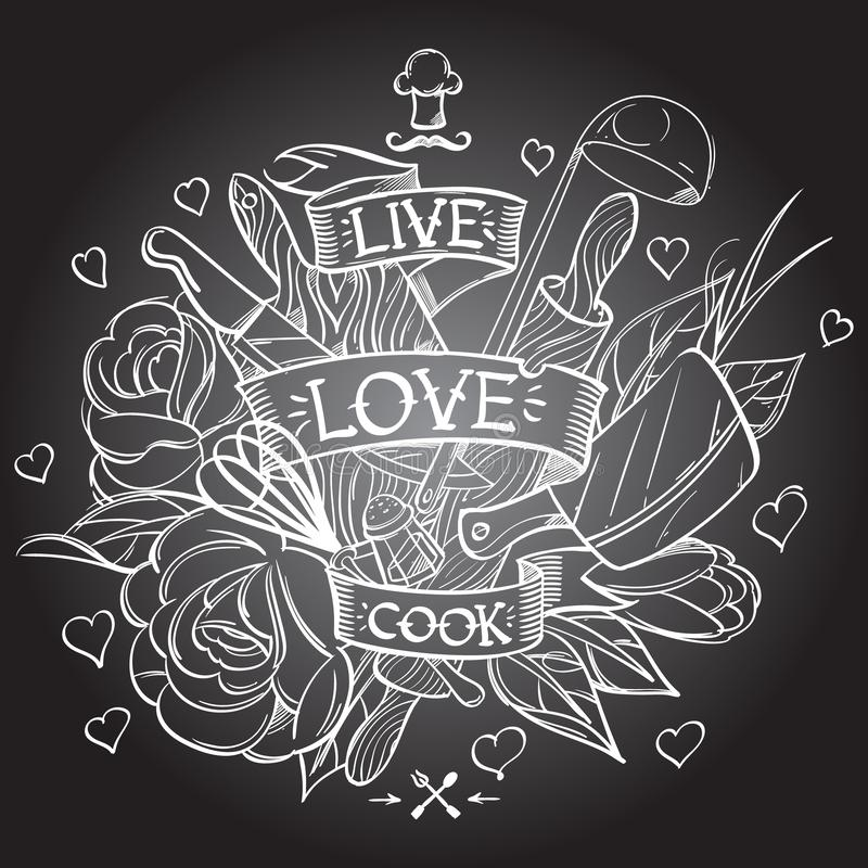 Contour drawing with the image of kitchen objects. A sketch of a tattoo vector illustration