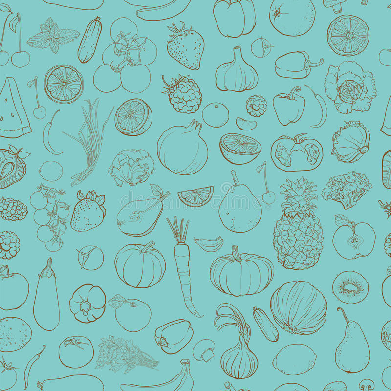 Contour drawing of vegetables, fruits, berries. Seamless vector pattern with contour drawing of vegetables, fruits, berries. Background with food ingredients vector illustration