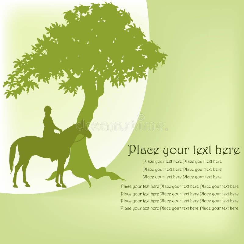 Contour du cavalier sur un cheval et un arbre illustration de vecteur