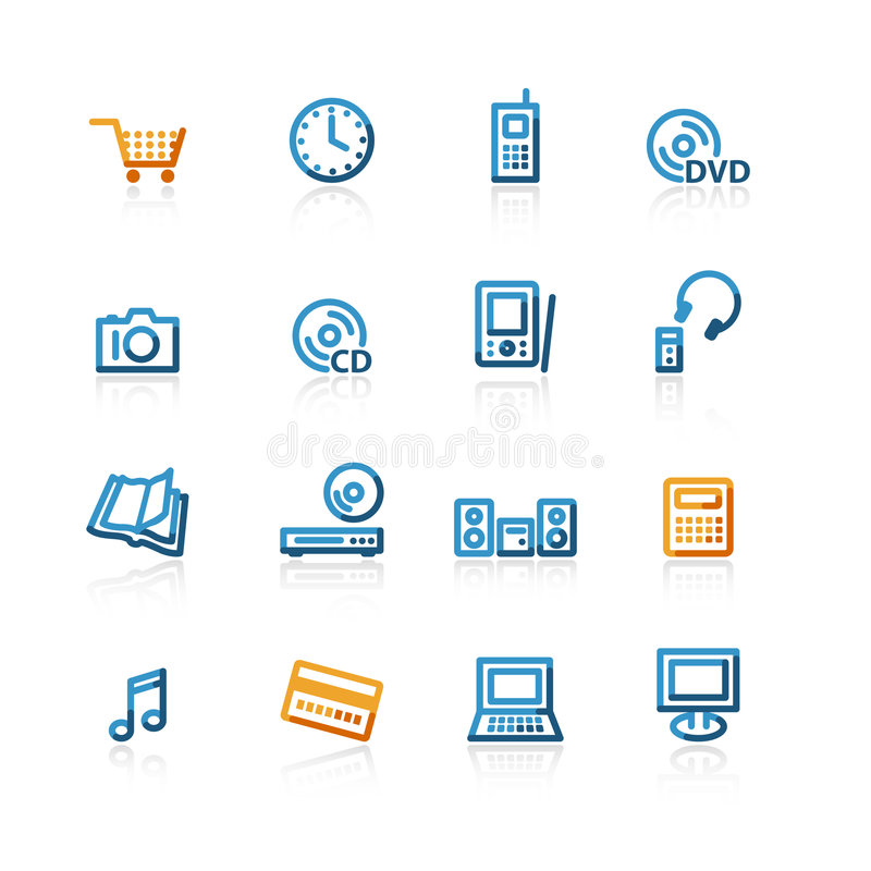 Contour e-commerce icons. On the white background