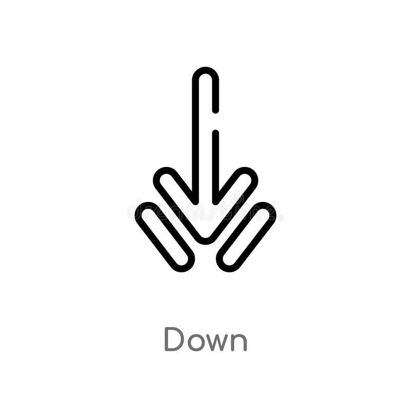 contour en bas d'icône de vecteur ligne simple noire d'isolement illustration d'?l?ment de concept d'interface course editable de illustration stock