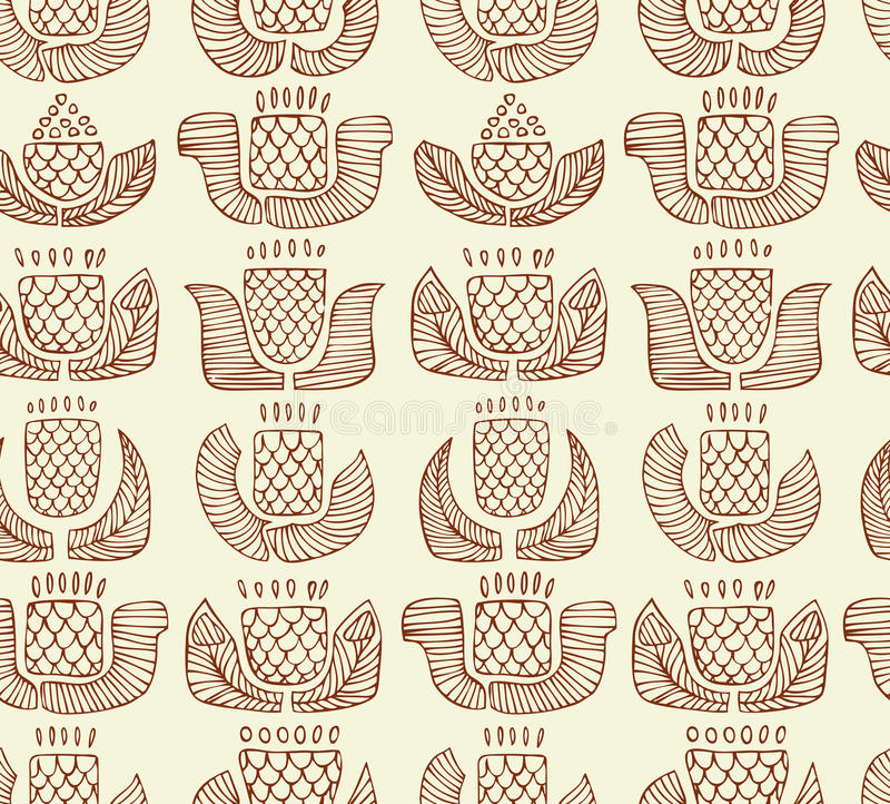 Contour ethnic pattern with different flowers, bud stock illustration