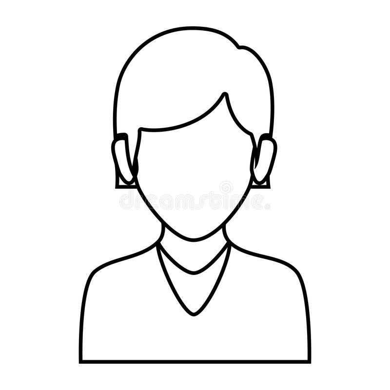 Contour faceless half body woman with straight short hair. Vector illustration royalty free illustration