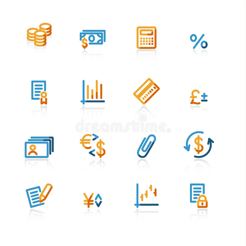 Contour finance icons. On the white background