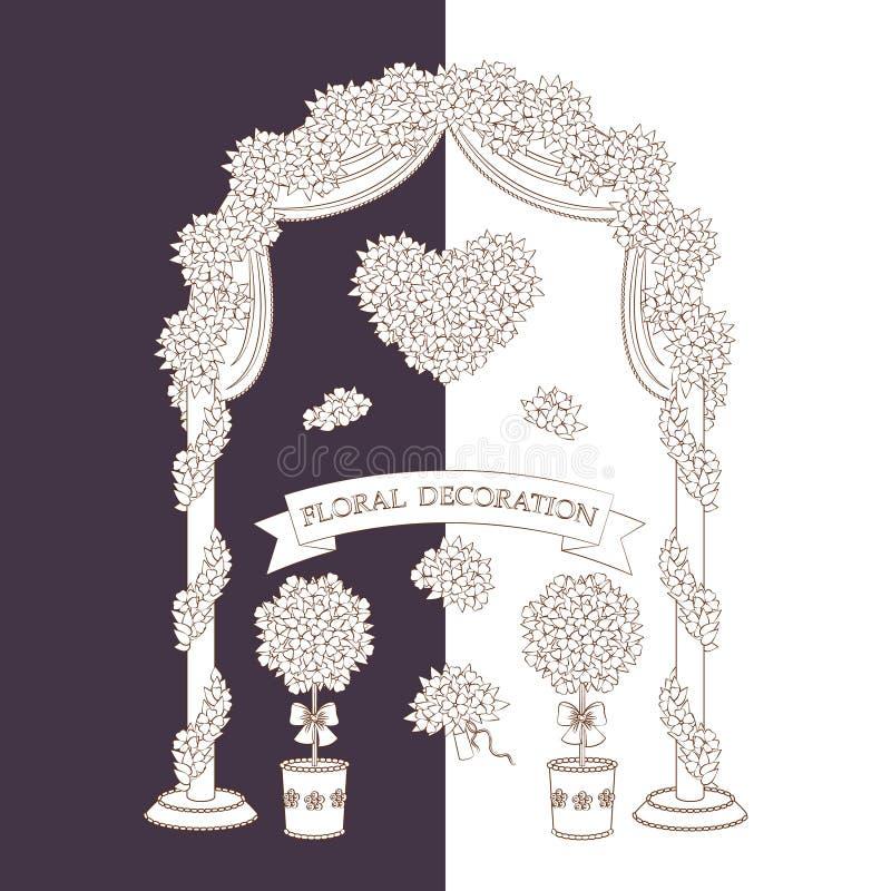 Contour floral decorations. stock illustration