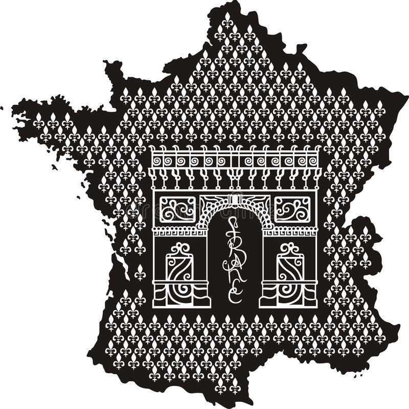 Contour Of France With Arc De Triomphe Stock Photography
