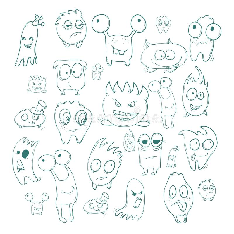 Contour funny monsters for Halloween holiday or your design. It can be used childrens books with fairy tales. Contour funny monsters for Halloween holiday or stock illustration