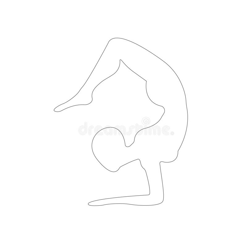 Contour of the girl engaged in yoga, fitness, gymnastics. Pose of yoga. The outline of the figure in black on a white background vector illustration