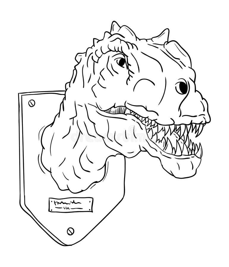 Contour head dinosaur stock illustration