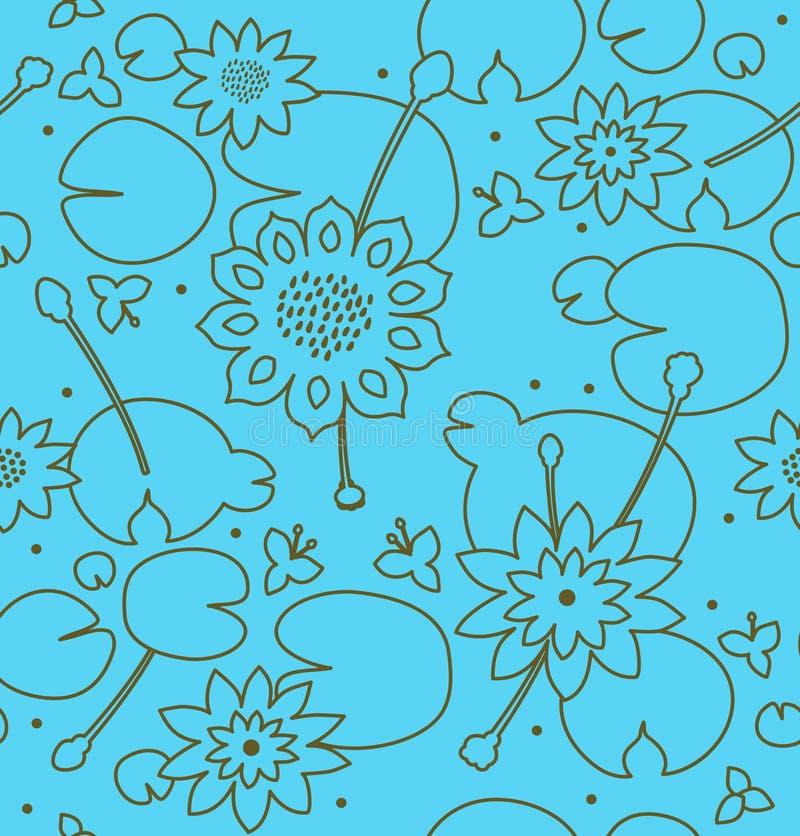 Contour heldere naadloze bloementextuur met bloemen, waterlelies, lotusbloem, aard modieus patroon vector illustratie