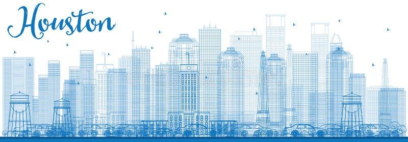 Contour Houston Skyline avec les bâtiments bleus illustration stock