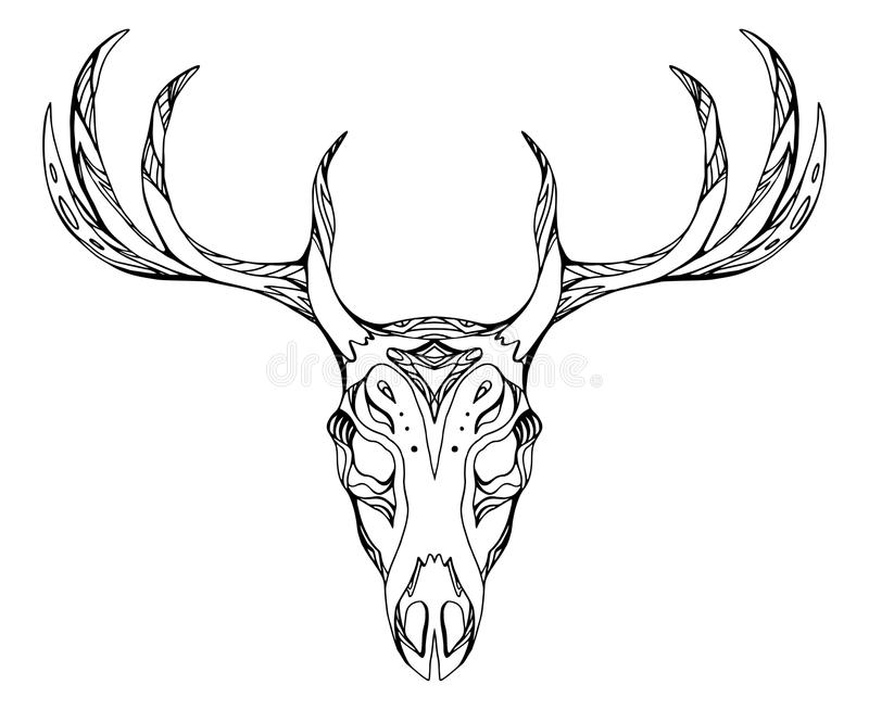 Contour illustration of a deer skull with antlers. With boho pattern. Vector doodle element for printing on T-shirts, tattoo sketch, postcards and your vector illustration