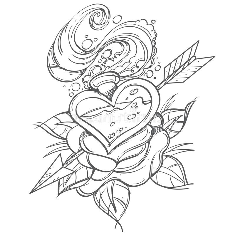 Contour illustration with a glass bubble in the shape of a heart, rose and arrow. A sketch of a tattoo vector illustration