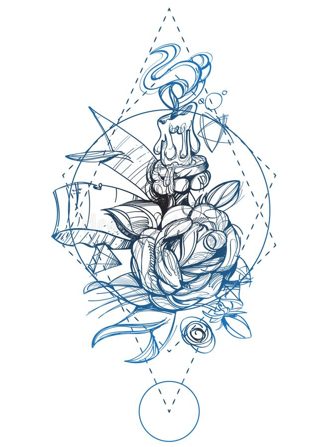 Contour illustration with a picture of a candle and a rose. A sketch of a tattoo vector illustration