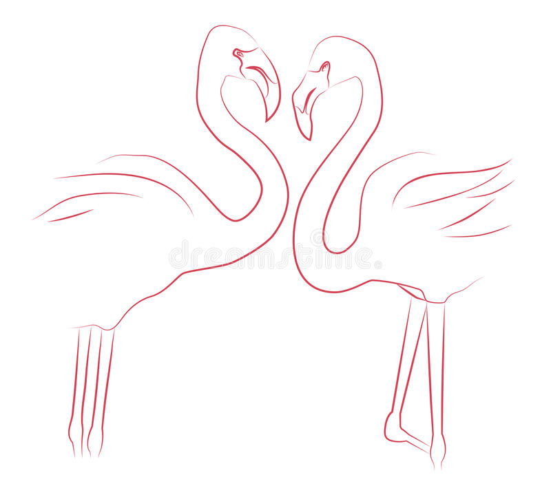 Contour illustration of two lovers flamingos. stock illustration