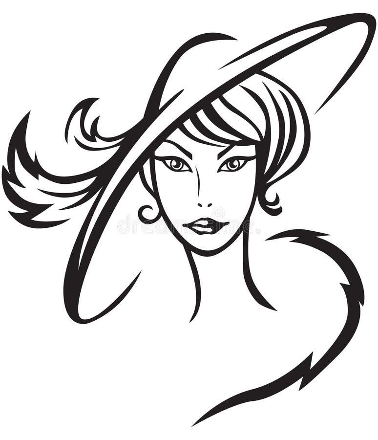Beautiful lady in hat stock illustration