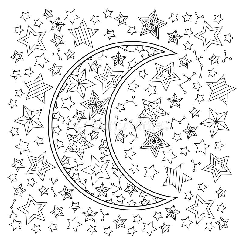 Contour Image Of Moon Crescent And Stars In Zentangle