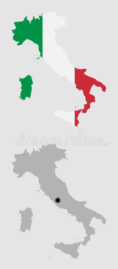 Contour of Italy. In grey and in flag colors vector illustration