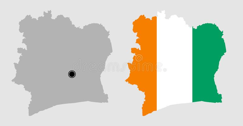 Contour of Ivory coast. In grey and in flag colors royalty free illustration