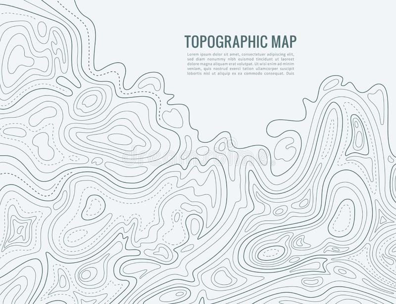 Contour line map. Elevation contouring outline cartography texture. Topographical relief map background stock illustration