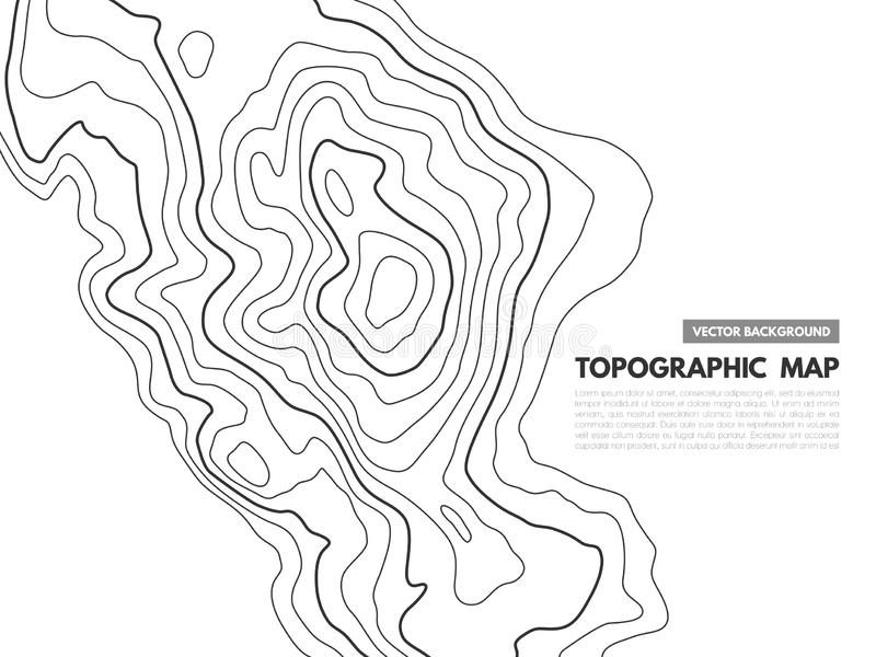 Contour line map. Topographical relief outline, cartography texture geographic world mapping grid terrain trails, vector. Contour line map. Topographical relief stock illustration