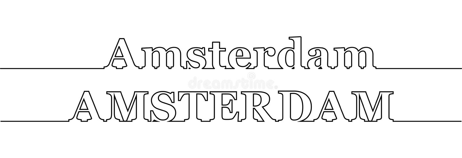 Contour line with the name of the city of AMSTERDAM in uppercase and uppercase letters. Flat design stock illustration
