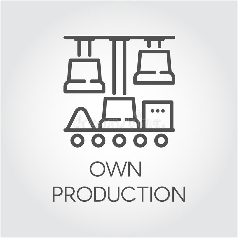 Contour lineair pictogram die eigen productie symboliseren Modern automatisch technologieënconcept Zwart grafisch beeldschrifttek vector illustratie
