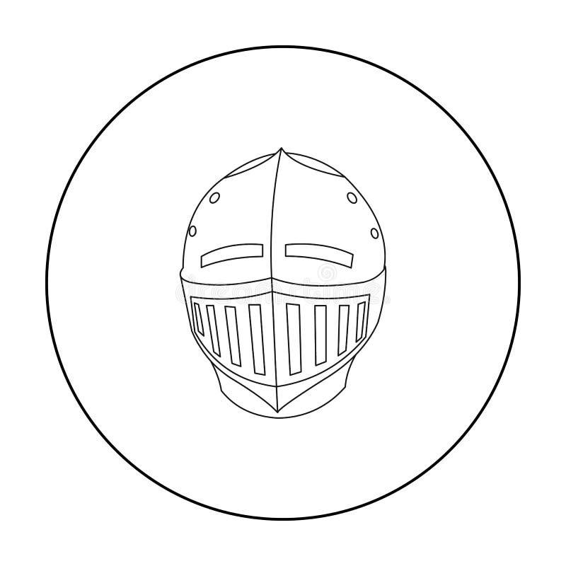 Contour médiéval d'icône de casque Icône simple d'arme des grandes munitions, bras réglés illustration libre de droits