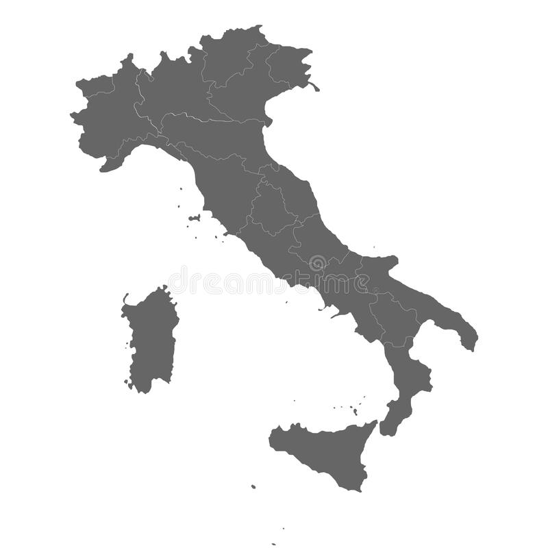 Contour Map Of Italy With Regions Division Vector Illustration