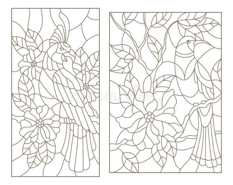 Contour met gebrandschilderd glas met vogels op de takken van bloeiende installaties wordt geplaatst die vector illustratie