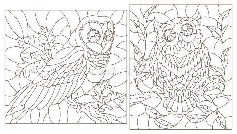 Contour met illustraties met uilen, donkere contouren op witte achtergrond wordt geplaatst die royalty-vrije illustratie