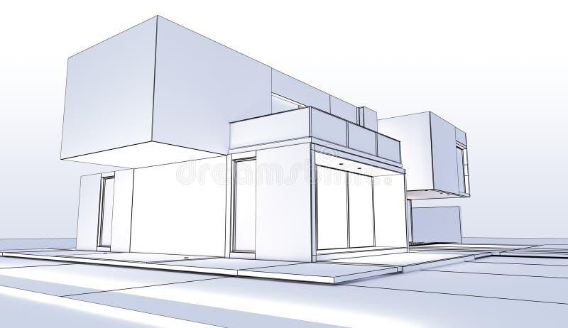Contour Moderne Cubique De Maison Illustration Stock ...