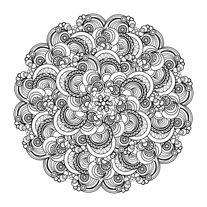 Contour, monochrome Mandala. ethnic, religious design element. Anti-paint for adults. Vector illustration vector illustration