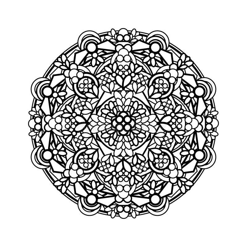 Contour, monochrome Mandala. ethnic, religious design element. Anti-paint for adults. Vector illustration royalty free illustration