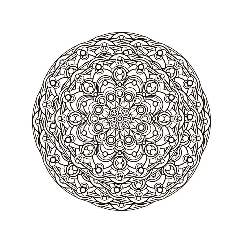 Contour, monochrome Mandala. ethnic, religious design element. Anti-paint for adults. Vector illustration stock illustration