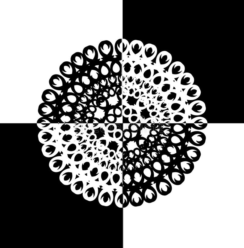 Contour, monochrome Mandala. ethnic, religious design element with a circular pattern. Anti-paint for adults. Vector illustration royalty free illustration