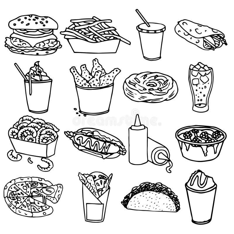 Contour noir d'icônes de menu d'aliments de préparation rapide illustration libre de droits