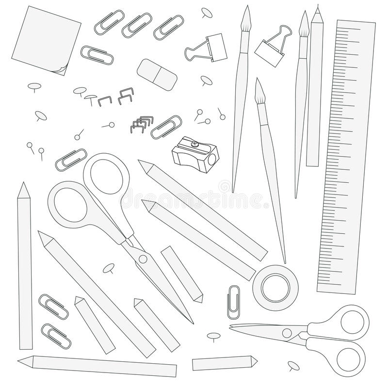 Contour objects stationery stock illustration