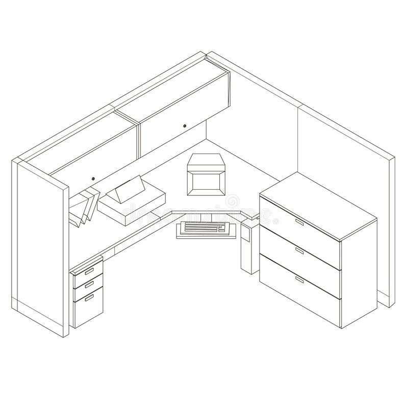 Contour office corner desk with cabinets and a computer. View isometric. Vector illustration.  royalty free illustration