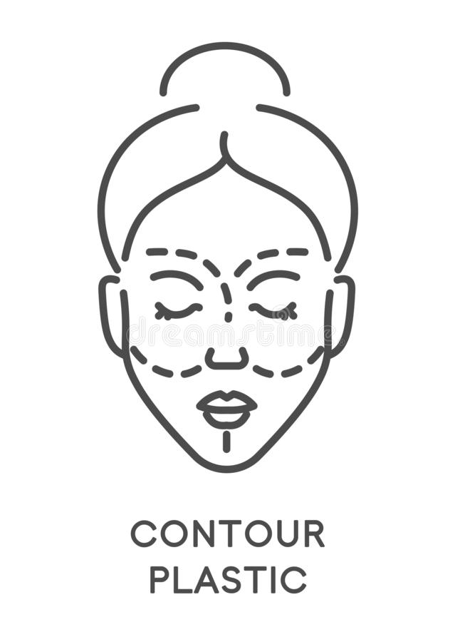 Contour plastic, woman beauty procedure or surgery, isolated icon vector illustration