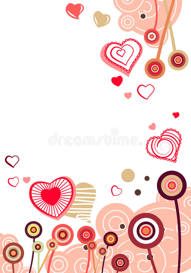 Contour red hearts vector illustration