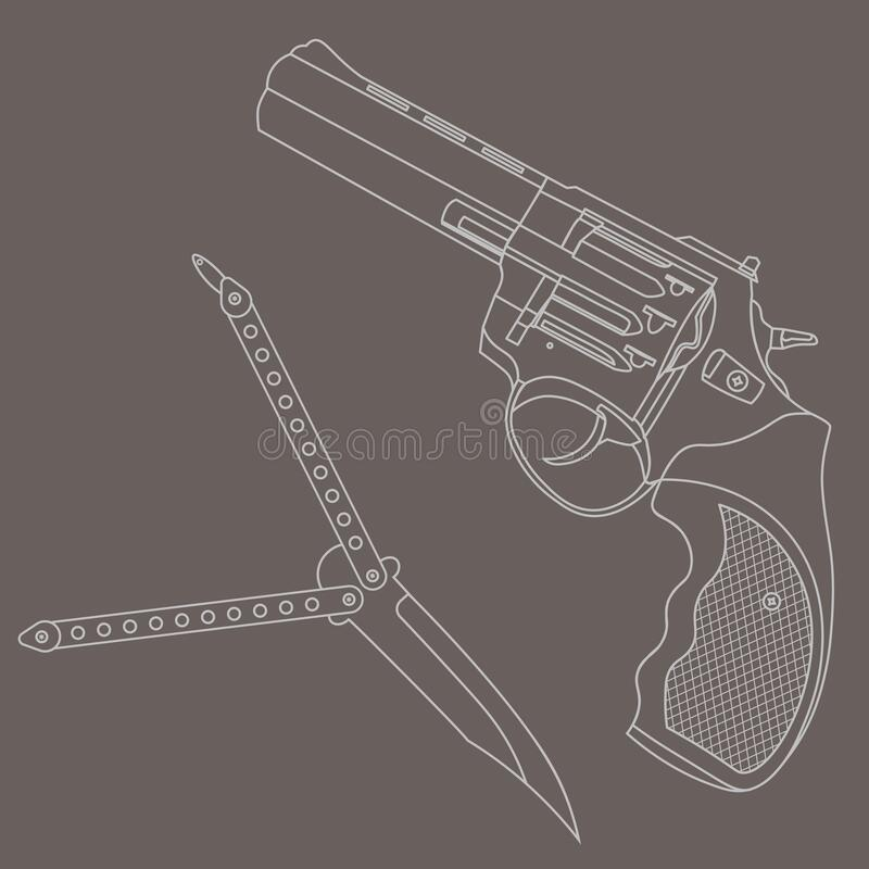Contour revolver and butterfly knife on grey background. Contour illustration with revolver and butterfly knife on grey background royalty free illustration