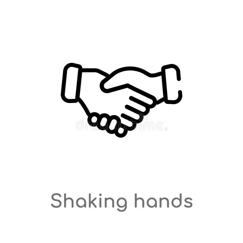 contour se serrant la main l'icône de vecteur ligne simple noire d'isolement illustration d'élément de concept d'affaires Course  illustration de vecteur