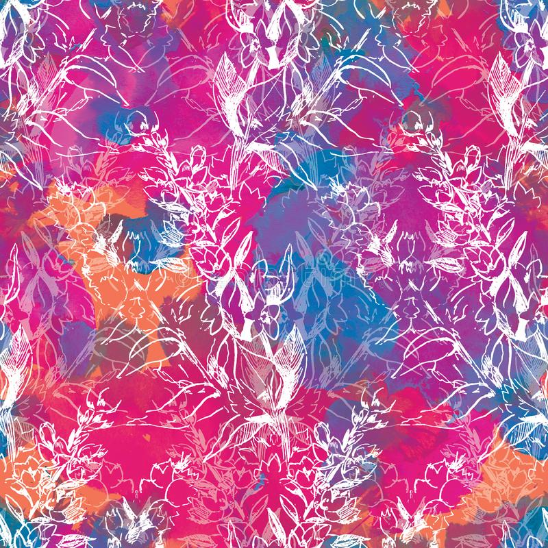 Contour seamless floral pattern on abstract watercolor background stock illustration