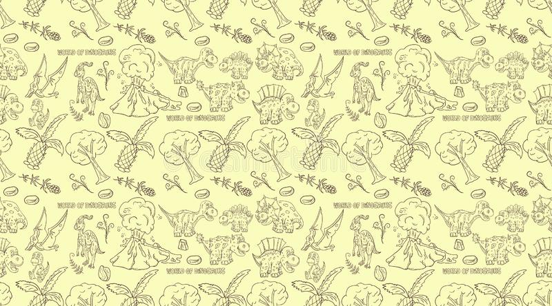 Contour seamless illustration_6_of the pattern of small dinosaurs and trees, plants, stones, for design in the style of Doodle royalty free illustration