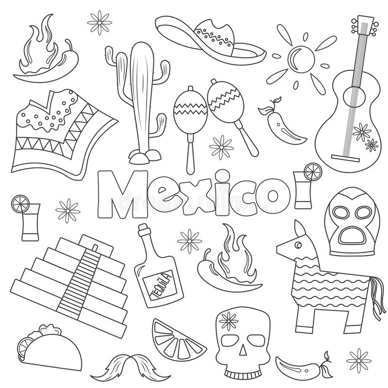 Contour set of icons on the theme of travel in Mexico,simple dark hand drawn icons on white background 皇族释放例证