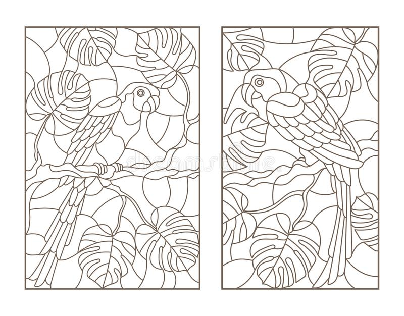 Contour set with illustrations with birds parrots and leaves of tropical plants, dark contours on white background stock illustration